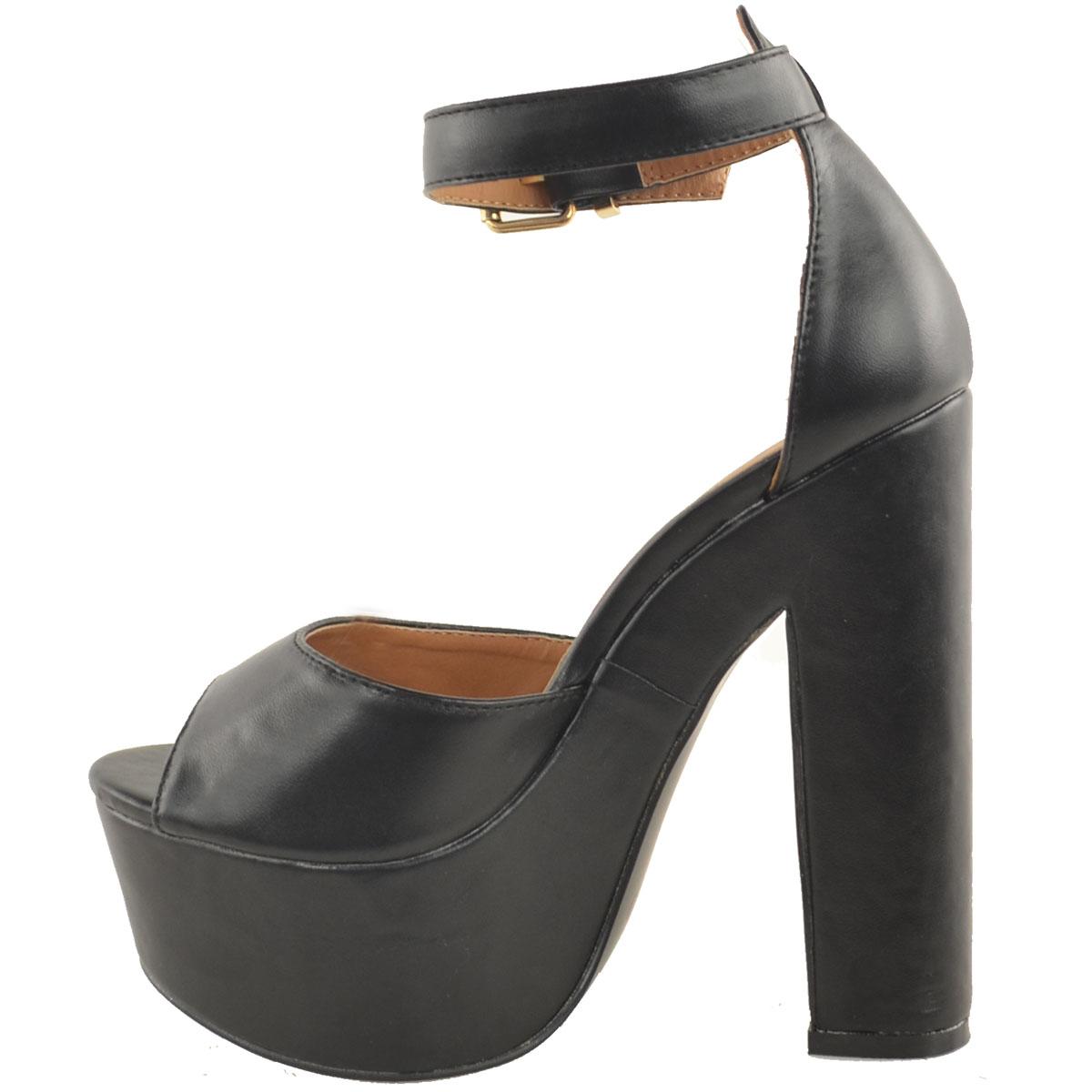 neu damen kn chel riemen plateau kolbig high heels. Black Bedroom Furniture Sets. Home Design Ideas