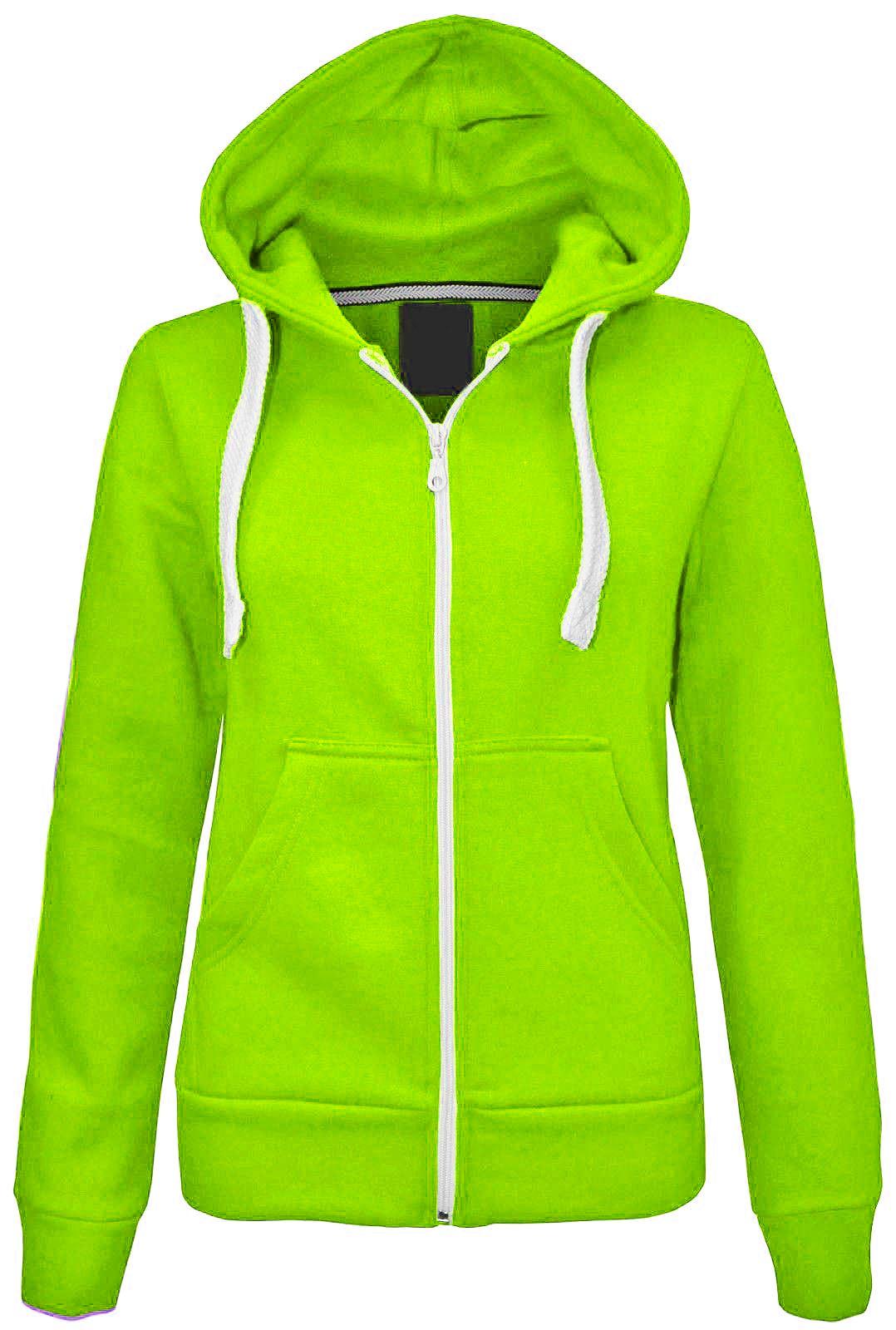 New-Girls-Kinder-Jungen-Einfarbig-Vlies-Reissverschluss-Kapuze-Jacke
