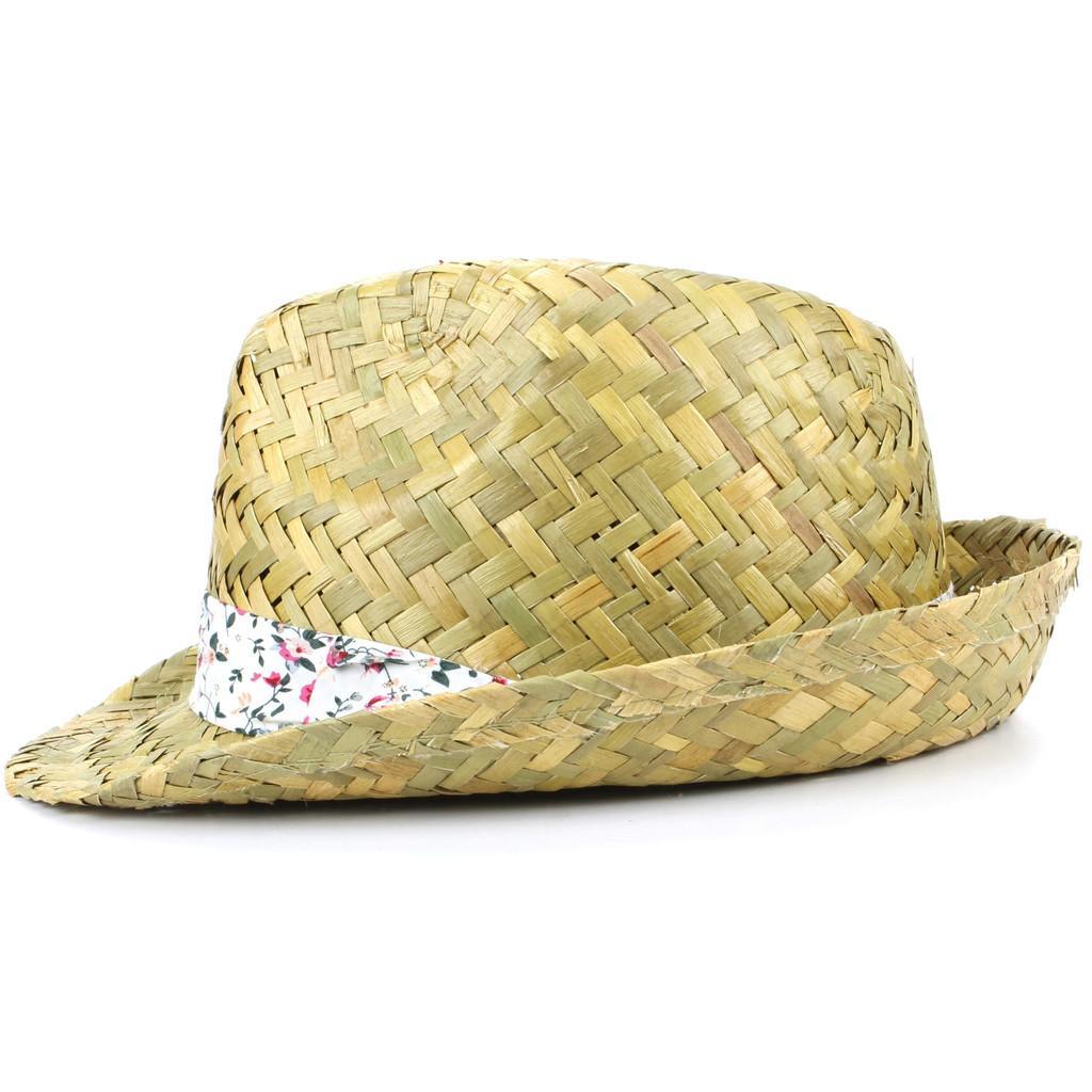 f1d3f2a4b Details about Trilby Hat Straw Fedora Cap Ladies Unisex Brim Travel Hawkins  FLORAL BAND