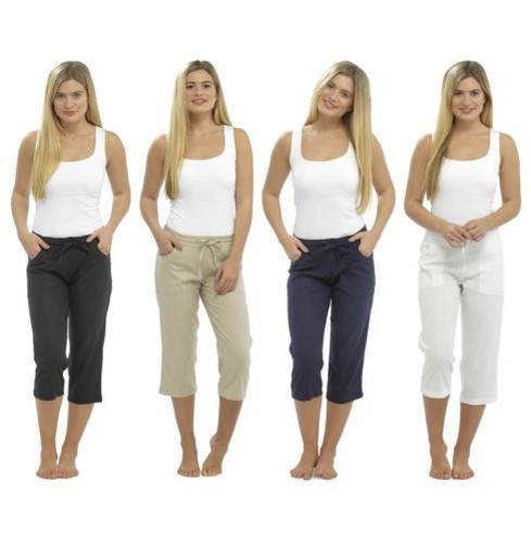 Ladies-3-4-Cropped-Linen-Trousers-Elasticated-Waist-Pants-Size-10-18-LN563