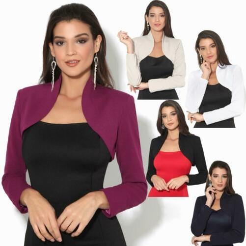 huge discount e76e9 b62bf Donna Giacca Coprispalle Bolero Chiffon Maglia Corta con Maniche Lunghe  Cappotto | eBay