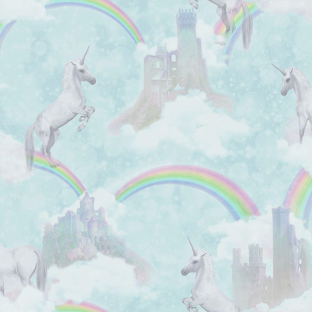 Arthouse Glitter Detail Kids Girls Bedroom Wallpaper: HOLDEN I BELIEVE IN UNICORNS RAINBOWS WALLPAPER GLITTER