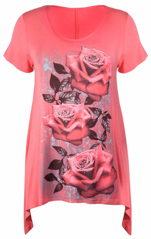 Womens-Plus-Size-Floral-Rose-Print-Glitter-Short-Sleeve-Hanky-Hem-Top-Tunic