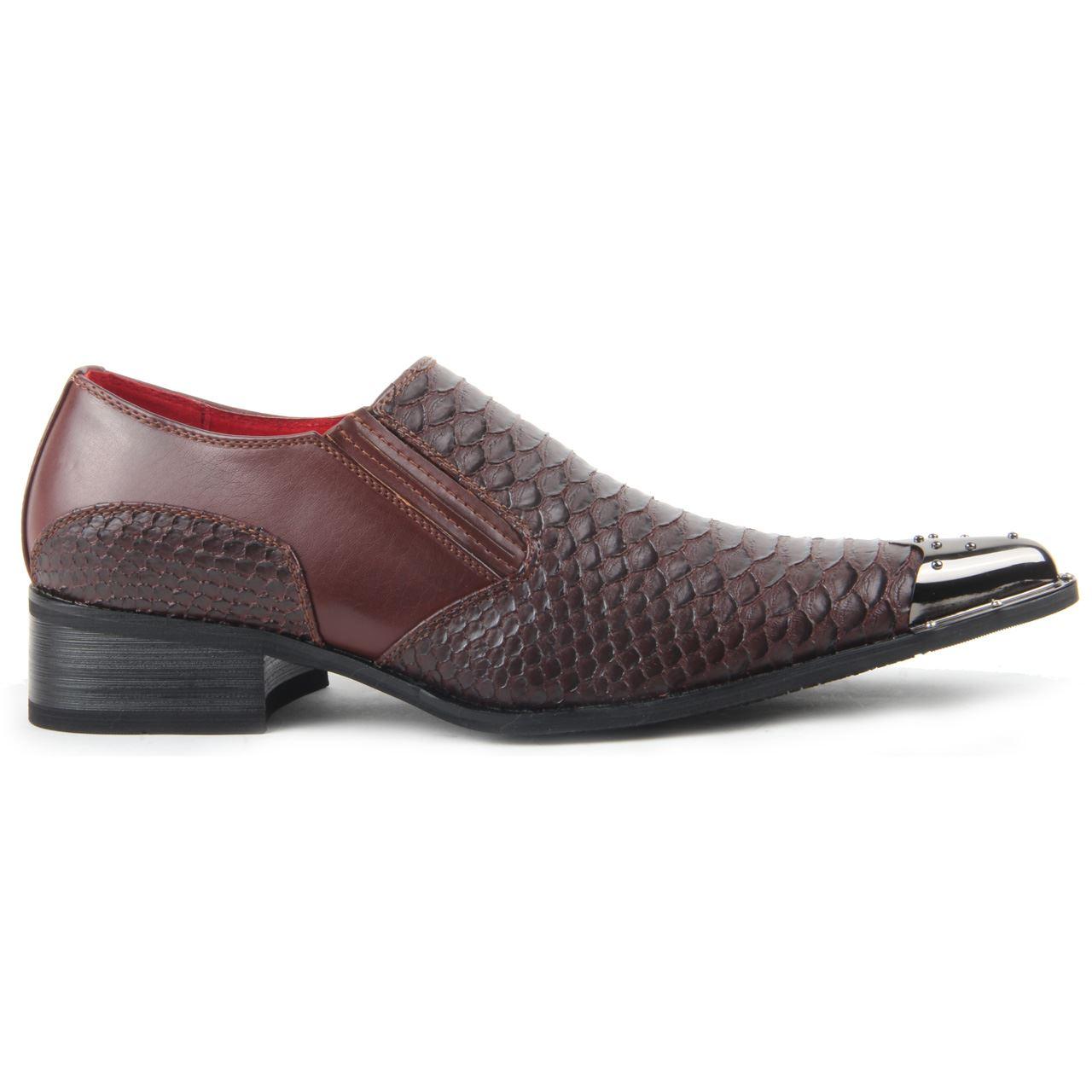 Herren Klug Freizeit Metall Schuhe, Kroko Skin ohne Bügel Metall Freizeit Zeh Spitz 32fb01