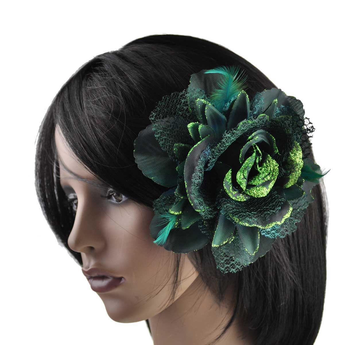 gro billig corsage spitze feder blumen haarspange kopfschmuck brosche elastisch ebay. Black Bedroom Furniture Sets. Home Design Ideas