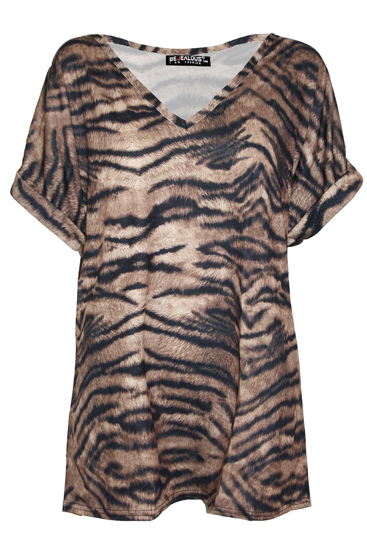 Damen-gekrempelt-Fledermausaermel-ueberdimensional-T-Shirt-V-Ausschnitt-Baggy-TOP