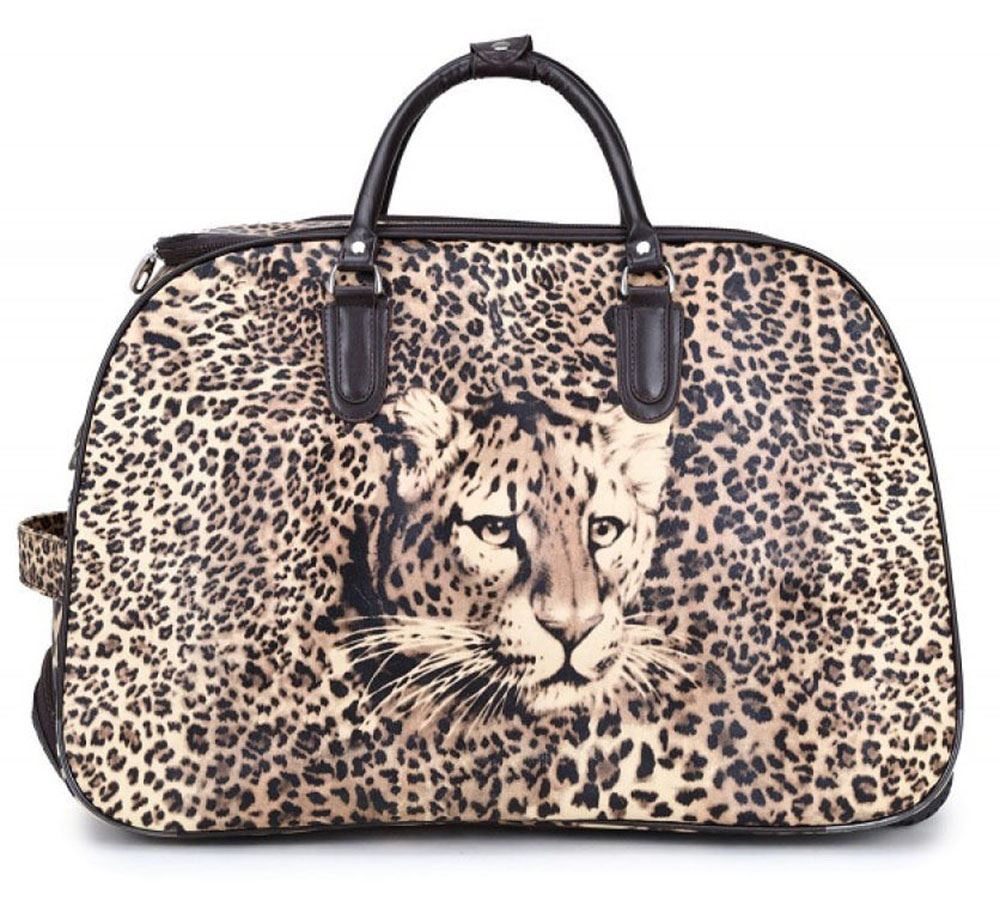 unisex reisetasche teddy leoparden druck gep ck tasche griff mit rollen koffer ebay. Black Bedroom Furniture Sets. Home Design Ideas