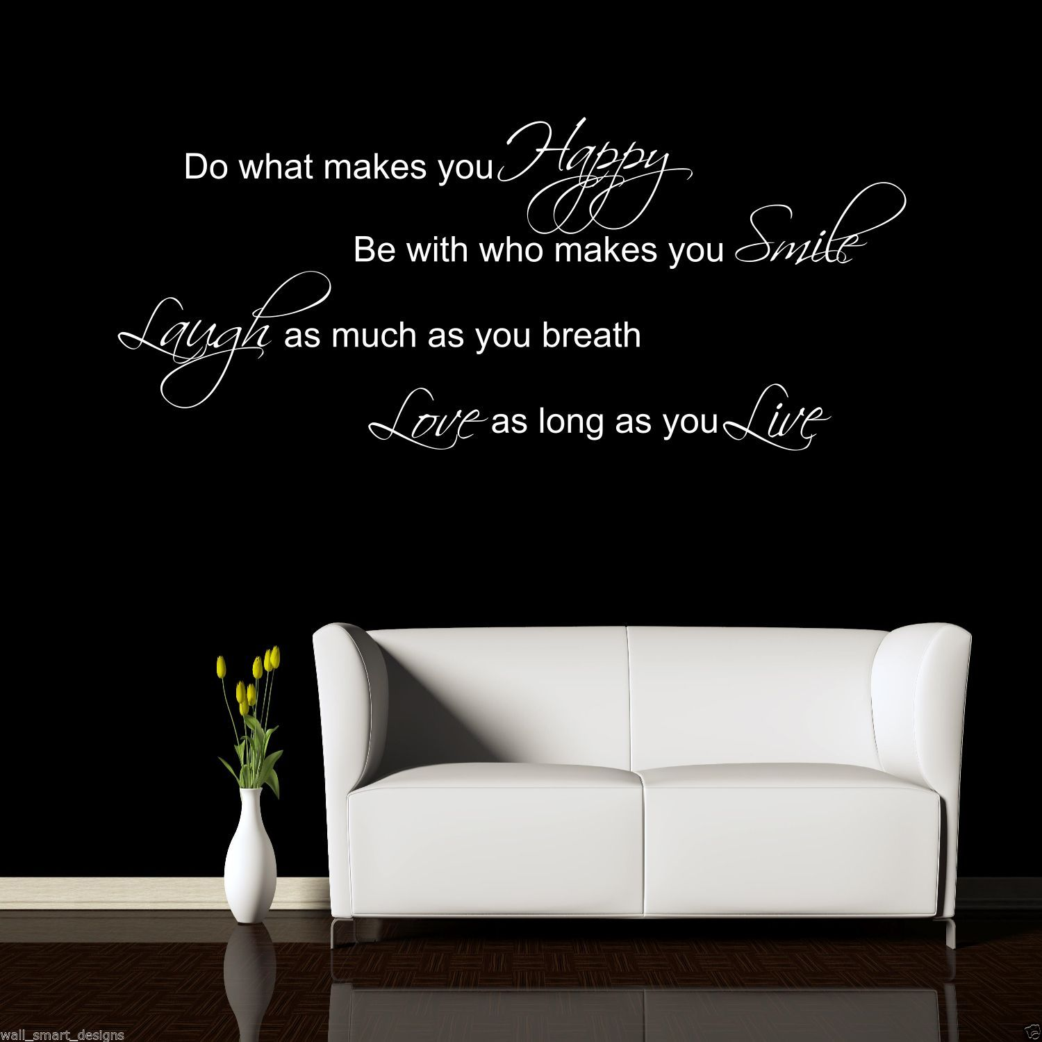 Smile Laugh Love Quotes Laugh Smile Love Live Wall Sticker Quote Decal Mural Stencil