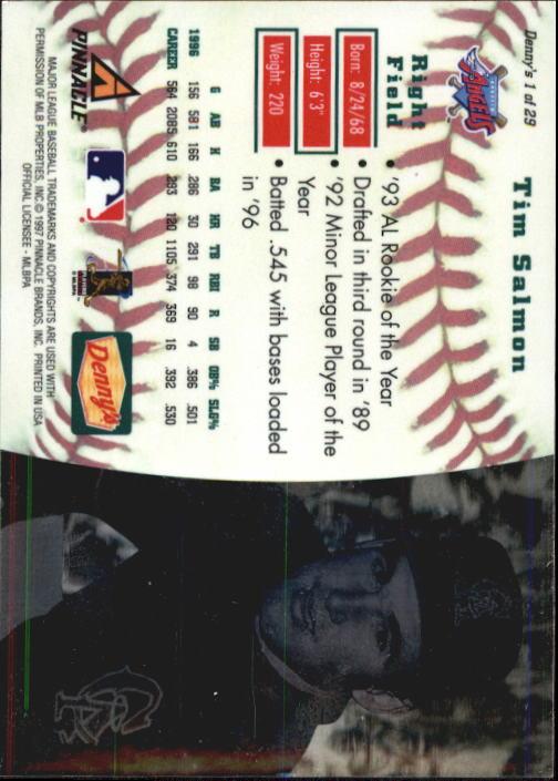 thumbnail 3 - 1997 Denny's Holograms Baseball Cards 1-30 (A2393) - You Pick - 10+ FREE SHIP