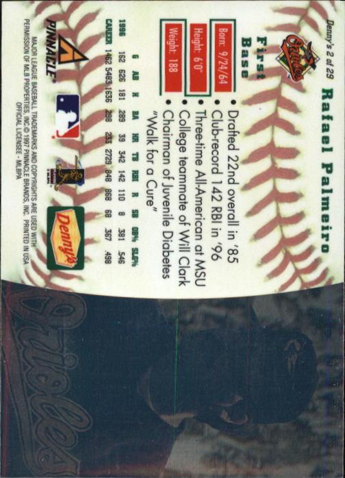 thumbnail 5 - 1997 Denny's Holograms Baseball Cards 1-30 (A2393) - You Pick - 10+ FREE SHIP