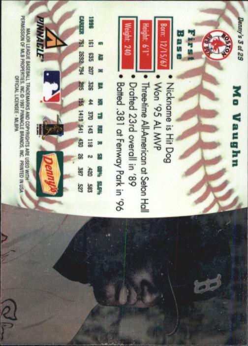 thumbnail 7 - 1997 Denny's Holograms Baseball Cards 1-30 (A2393) - You Pick - 10+ FREE SHIP