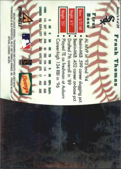 thumbnail 9 - 1997 Denny's Holograms Baseball Cards 1-30 (A2393) - You Pick - 10+ FREE SHIP