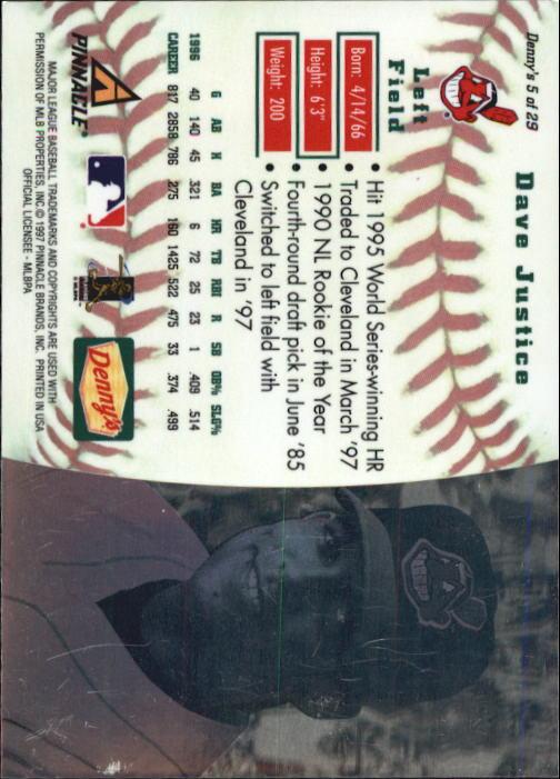 thumbnail 11 - 1997 Denny's Holograms Baseball Cards 1-30 (A2393) - You Pick - 10+ FREE SHIP