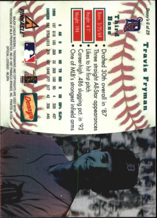 thumbnail 13 - 1997 Denny's Holograms Baseball Cards 1-30 (A2393) - You Pick - 10+ FREE SHIP