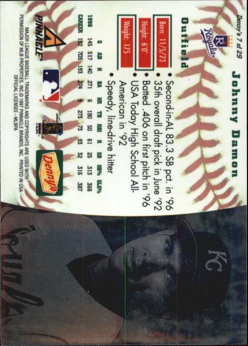 thumbnail 15 - 1997 Denny's Holograms Baseball Cards 1-30 (A2393) - You Pick - 10+ FREE SHIP