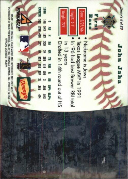 thumbnail 17 - 1997 Denny's Holograms Baseball Cards 1-30 (A2393) - You Pick - 10+ FREE SHIP