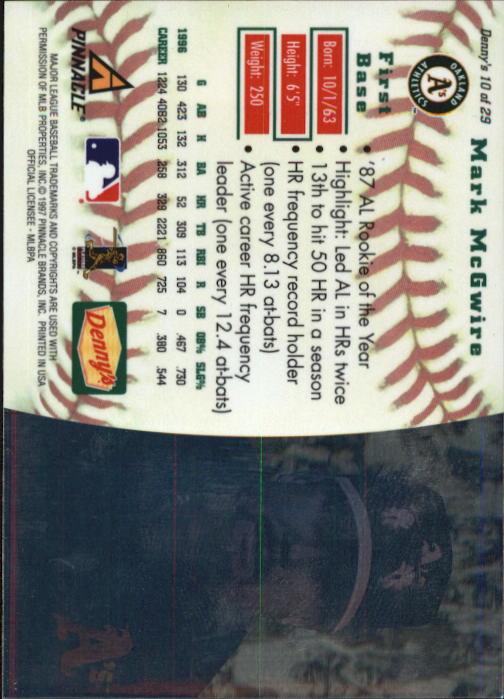 thumbnail 21 - 1997 Denny's Holograms Baseball Cards 1-30 (A2393) - You Pick - 10+ FREE SHIP