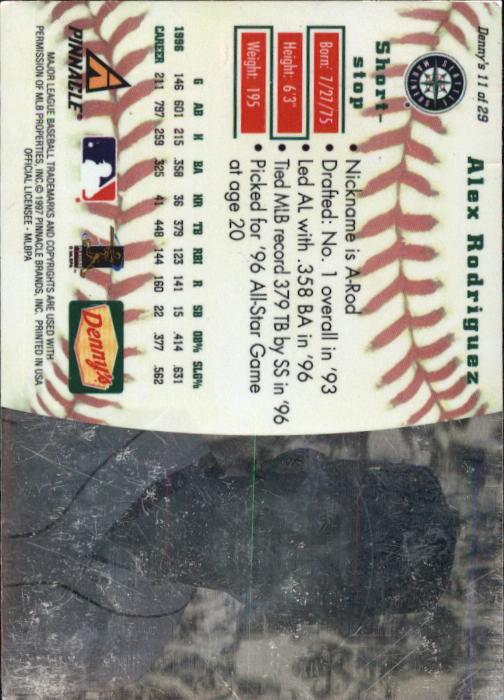 thumbnail 23 - 1997 Denny's Holograms Baseball Cards 1-30 (A2393) - You Pick - 10+ FREE SHIP