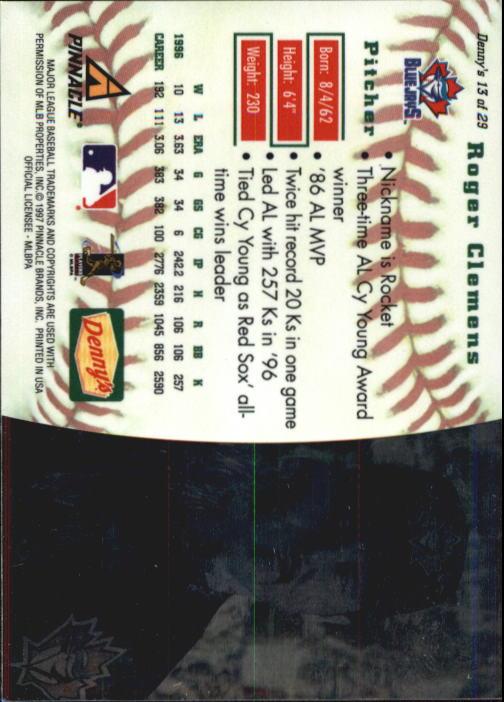 thumbnail 25 - 1997 Denny's Holograms Baseball Cards 1-30 (A2393) - You Pick - 10+ FREE SHIP
