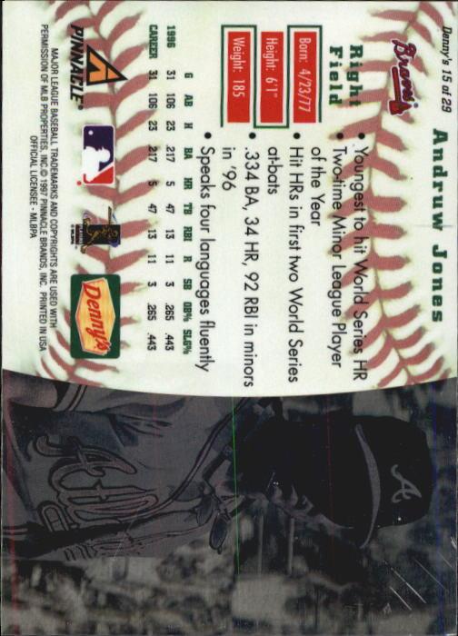 thumbnail 27 - 1997 Denny's Holograms Baseball Cards 1-30 (A2393) - You Pick - 10+ FREE SHIP