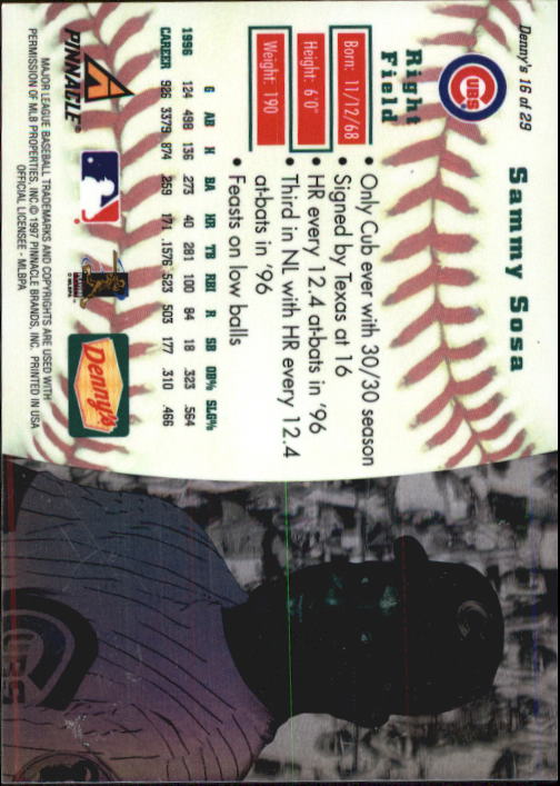 thumbnail 29 - 1997 Denny's Holograms Baseball Cards 1-30 (A2393) - You Pick - 10+ FREE SHIP