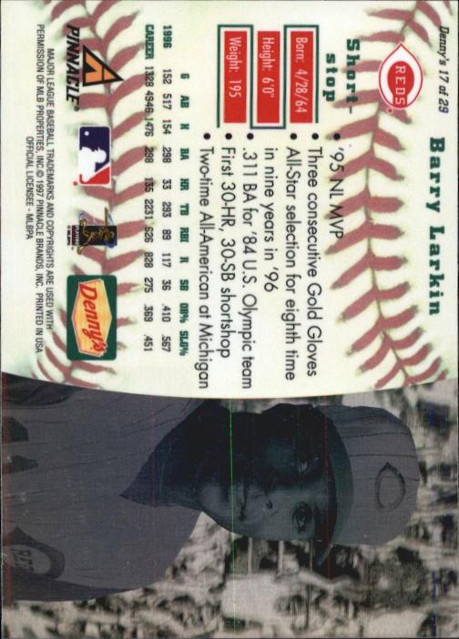 thumbnail 31 - 1997 Denny's Holograms Baseball Cards 1-30 (A2393) - You Pick - 10+ FREE SHIP
