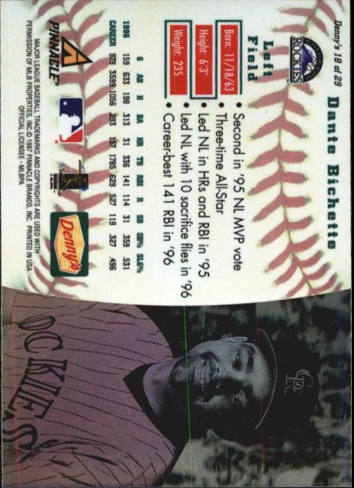 thumbnail 33 - 1997 Denny's Holograms Baseball Cards 1-30 (A2393) - You Pick - 10+ FREE SHIP