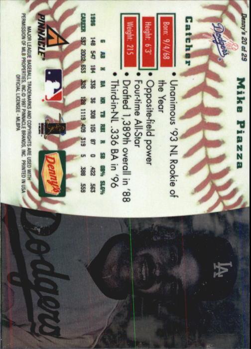 thumbnail 37 - 1997 Denny's Holograms Baseball Cards 1-30 (A2393) - You Pick - 10+ FREE SHIP