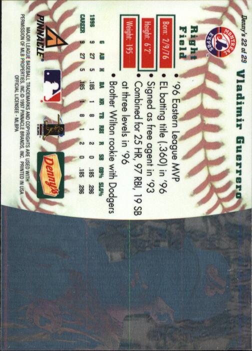 thumbnail 41 - 1997 Denny's Holograms Baseball Cards 1-30 (A2393) - You Pick - 10+ FREE SHIP
