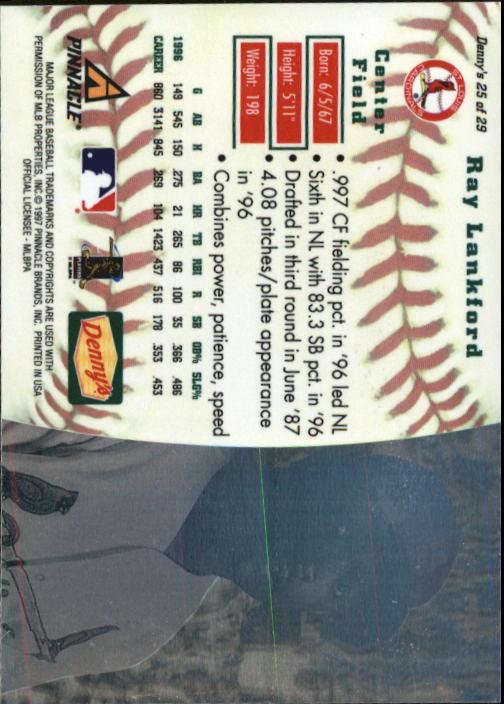 thumbnail 47 - 1997 Denny's Holograms Baseball Cards 1-30 (A2393) - You Pick - 10+ FREE SHIP