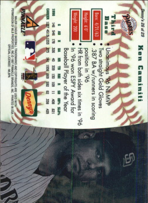 thumbnail 49 - 1997 Denny's Holograms Baseball Cards 1-30 (A2393) - You Pick - 10+ FREE SHIP