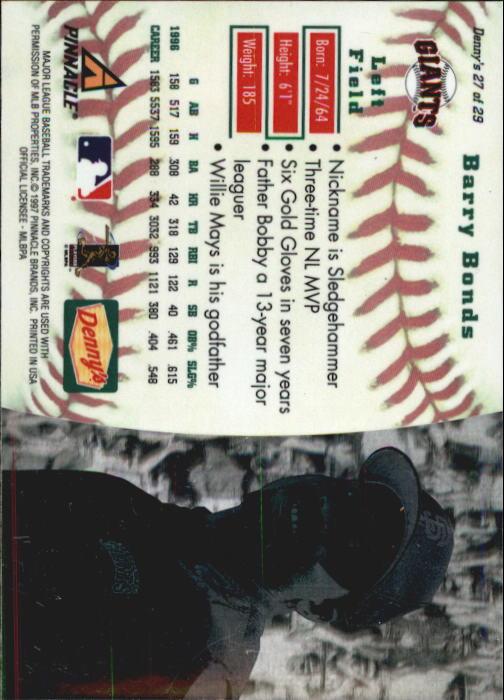 thumbnail 51 - 1997 Denny's Holograms Baseball Cards 1-30 (A2393) - You Pick - 10+ FREE SHIP