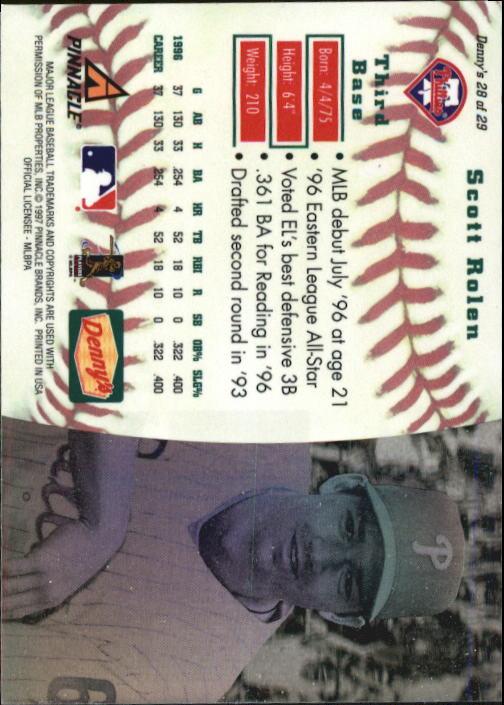thumbnail 53 - 1997 Denny's Holograms Baseball Cards 1-30 (A2393) - You Pick - 10+ FREE SHIP