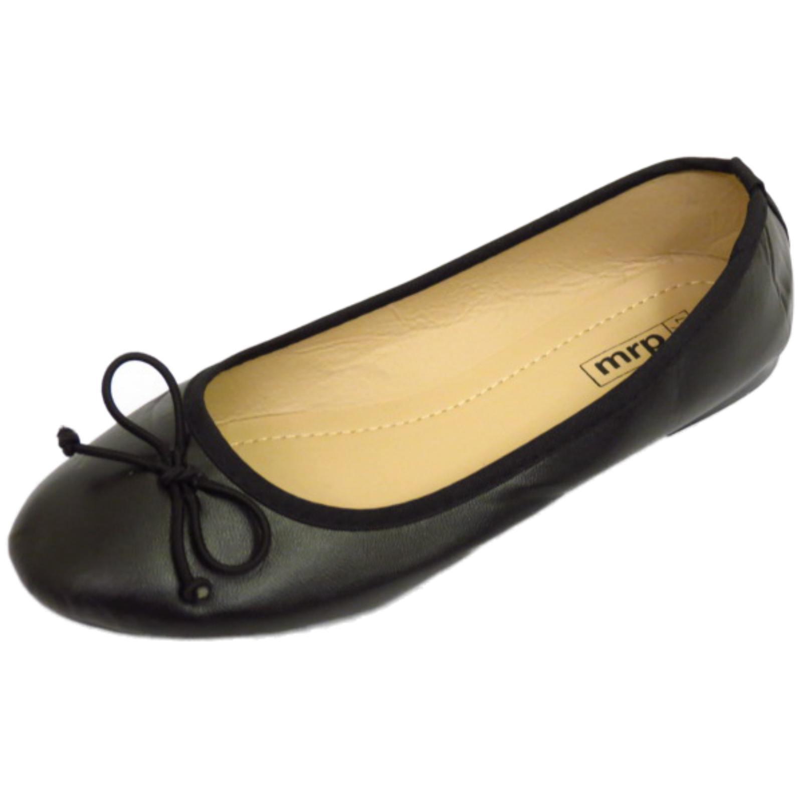 Damen flach schwarz zum reinschlüpfen Schuhe Puppe bequem Ballet Ballerina