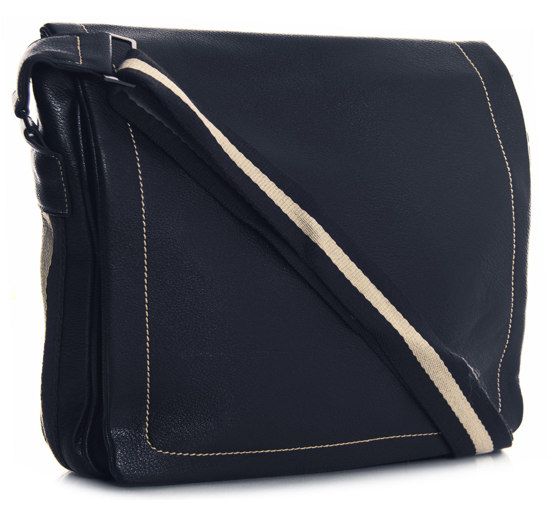 Big Handbag Shop Unisex Kunstleder mehrere Taschen Schulter kurir Tasche - groß