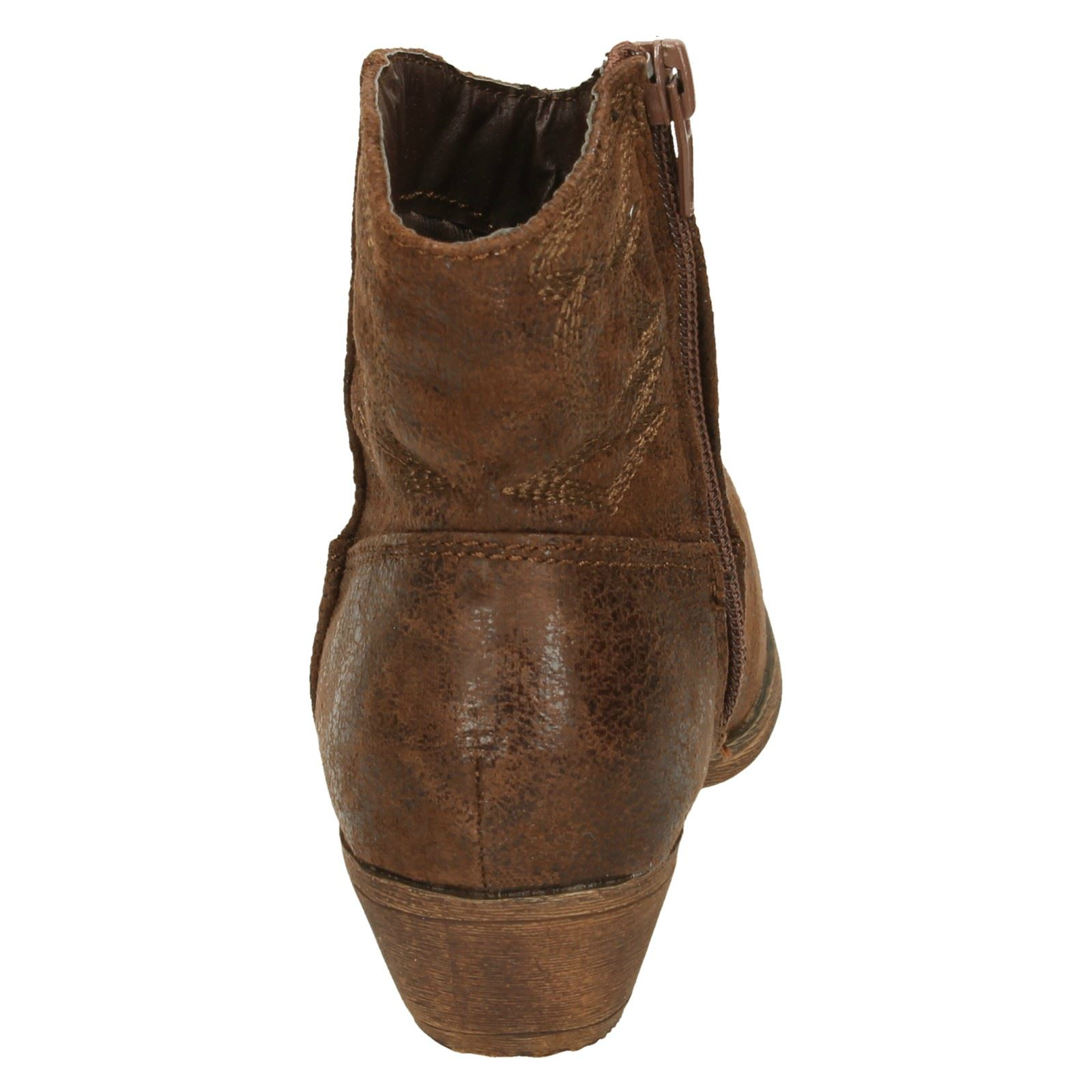 H5017 GIRLS CUTIE ZIP UP ROUND TOE LOW HEEL COWBOY STYLE CASUAL ANKLE BOOTS