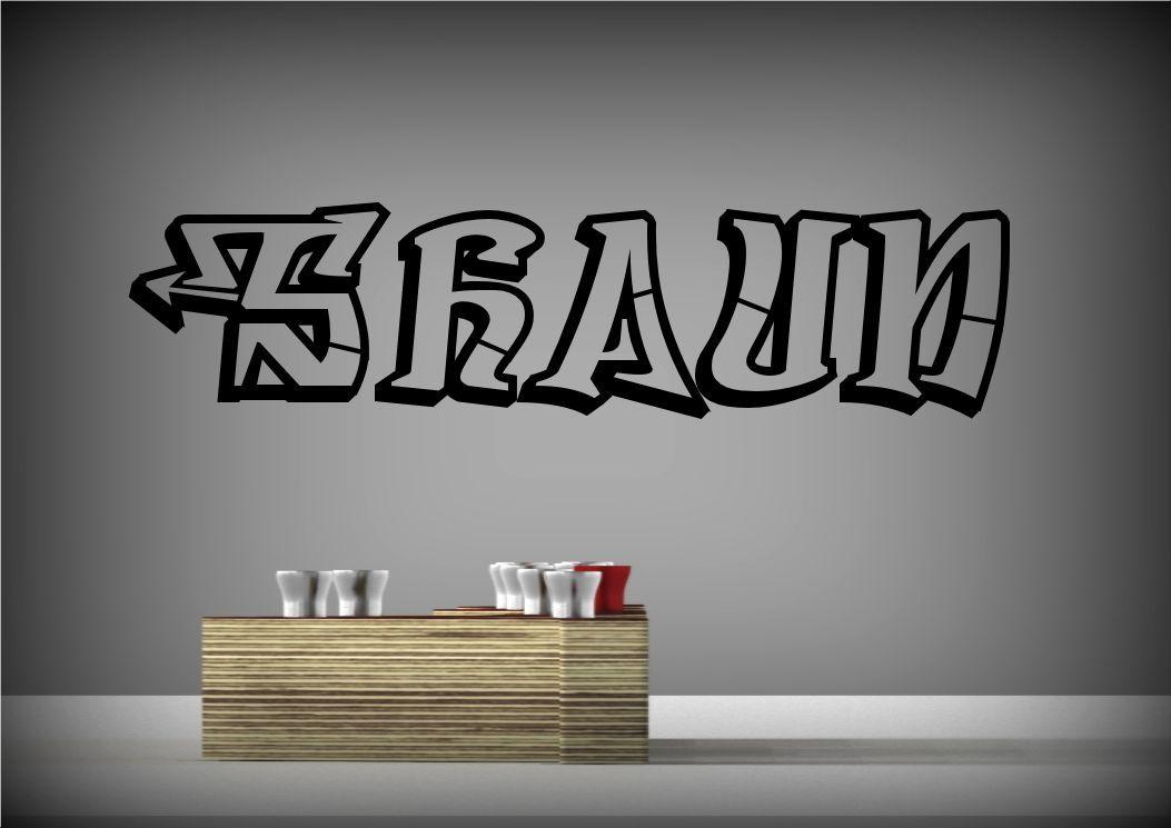 Personalizado grafiti nombre adhesivo pared pegatina mural for Mural pared personalizado