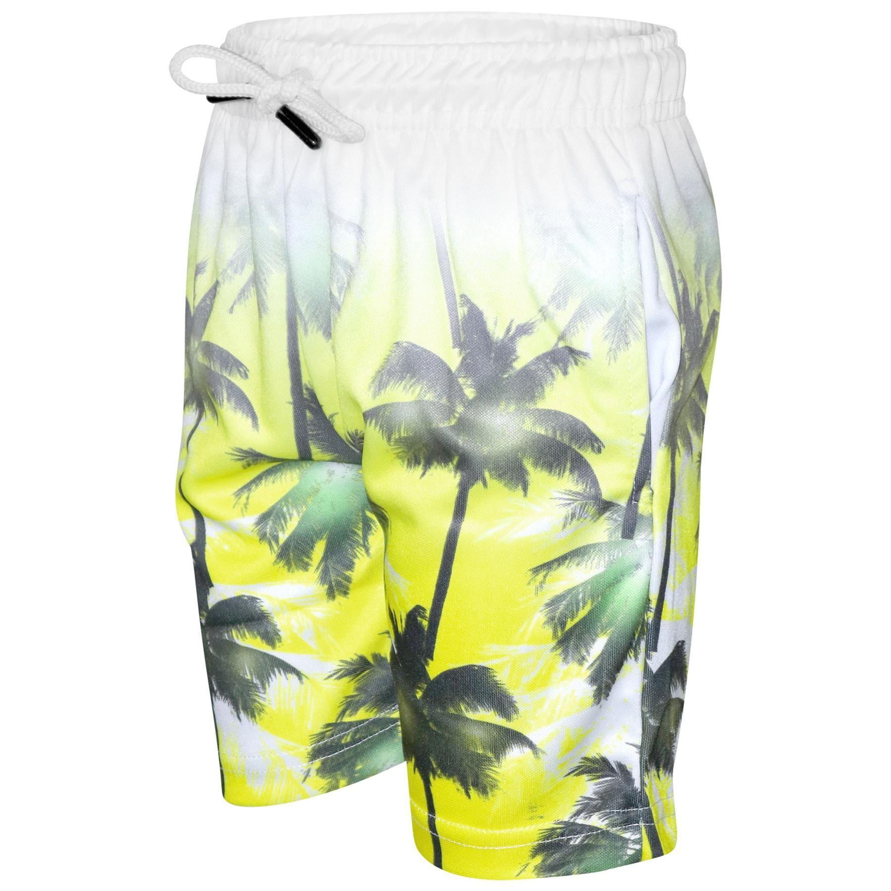 Niño Camiseta Pantalones Cortos Palmeras Desteñir Dos Tonos Amarillo Verano Sets
