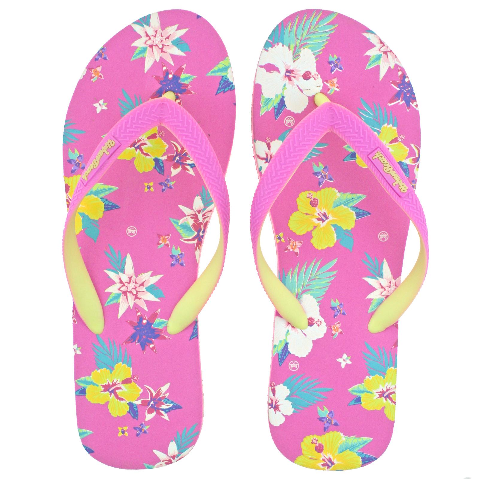 Mujer-Urban-Beach-Bayfront-Playa-Rosa-florado-Chanclas-Sandalias-Tira-en-el-dedo