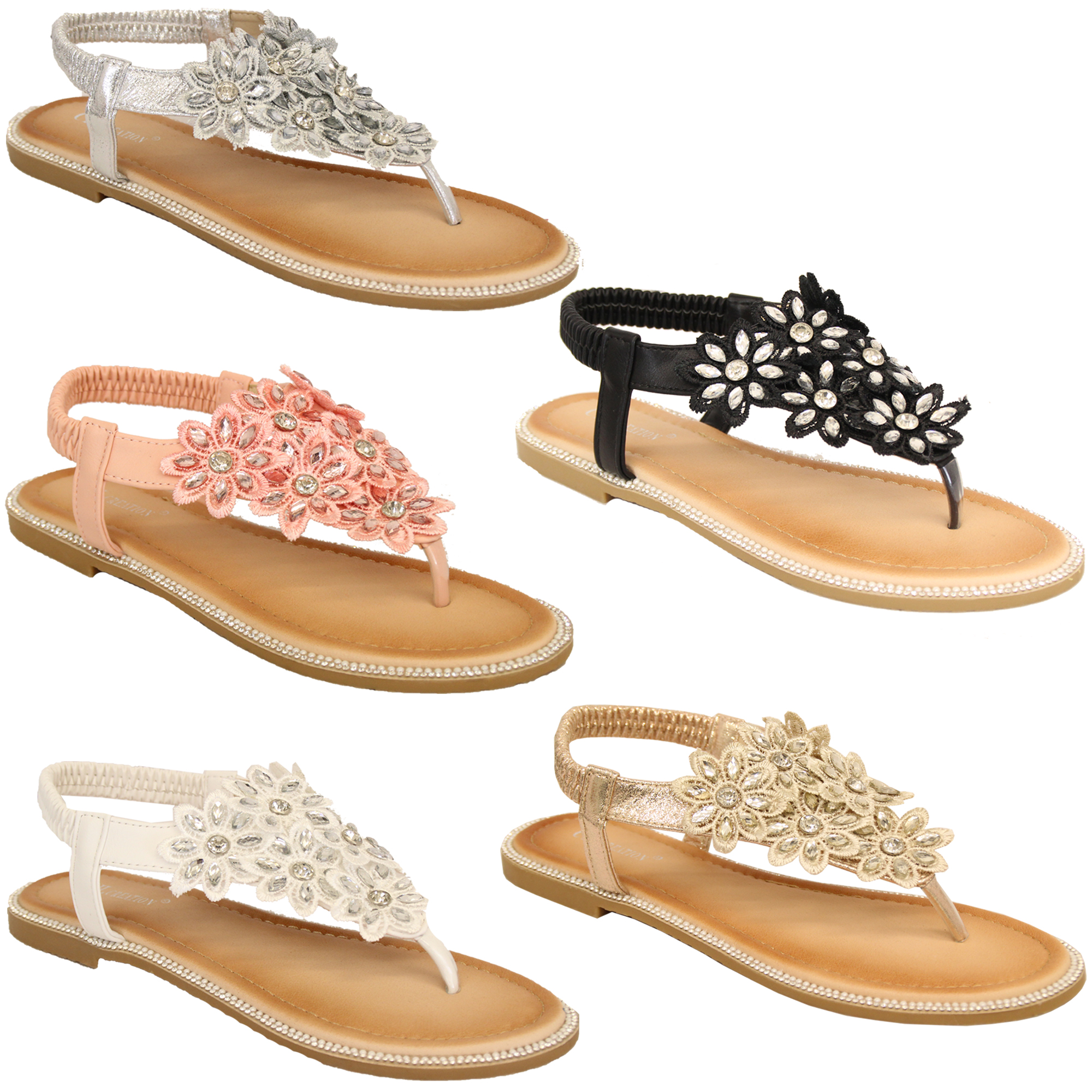 10acfdf2825 Details about Ladies Flat Sandals Womens Diamante Sling Back Toe Post Flowers  Shoes Summer New