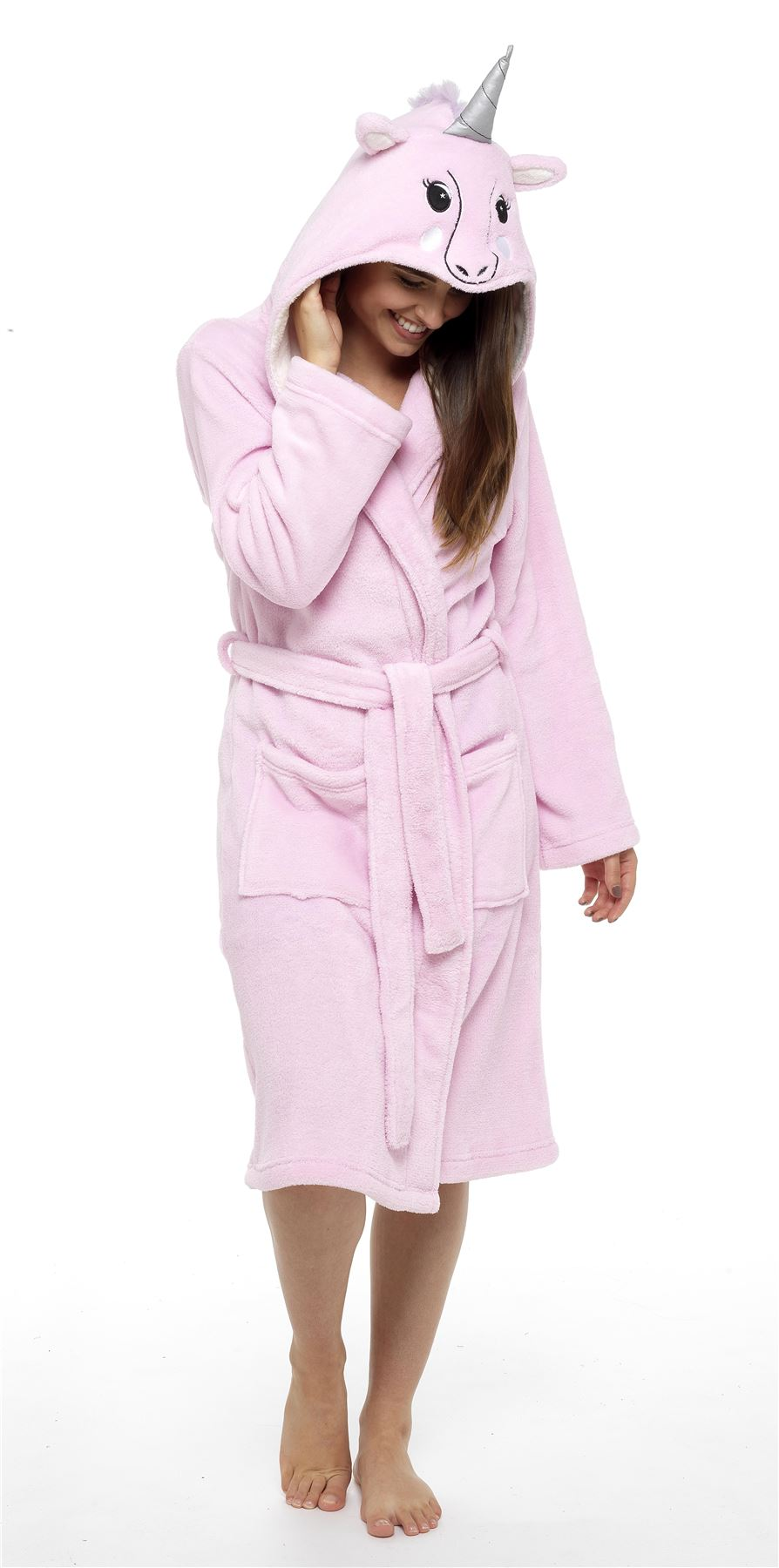 Women\'s Unicorn Hooded Robe, Super Soft Fleece Unicorn Dressing Gown ...
