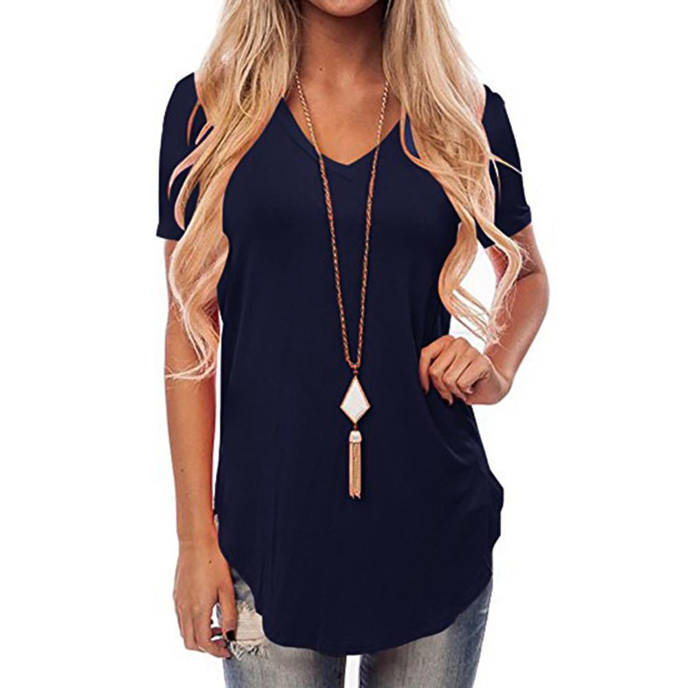 UK-Donna-T-Shirt-Maniche-Corte-Scollo-a-V-Irregolare-Larga-Casual-camicetta-top