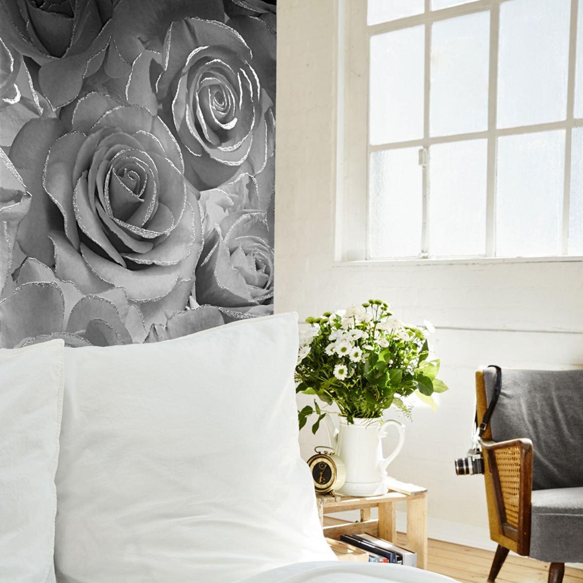 Muriva Madison Rose Glitzer Blumenmuster Luxus Tapete Silbergrau