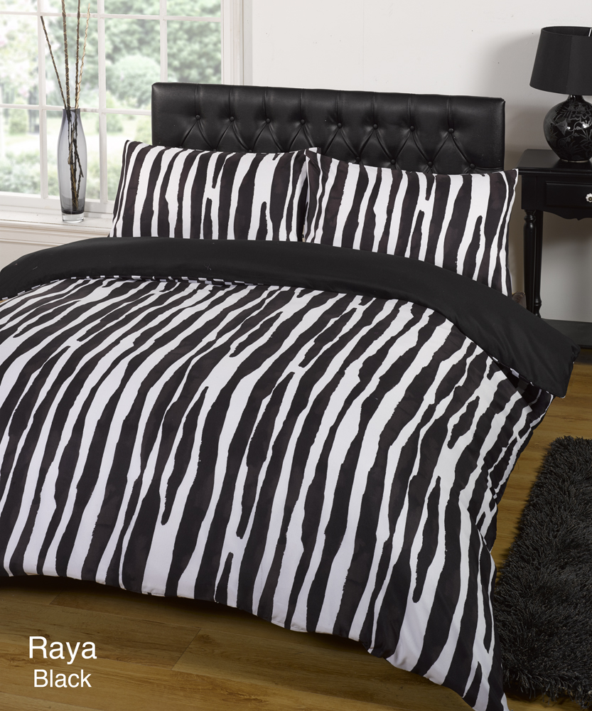 ensemble housse de couette dredon noir blanc lit simple double queen size ebay. Black Bedroom Furniture Sets. Home Design Ideas