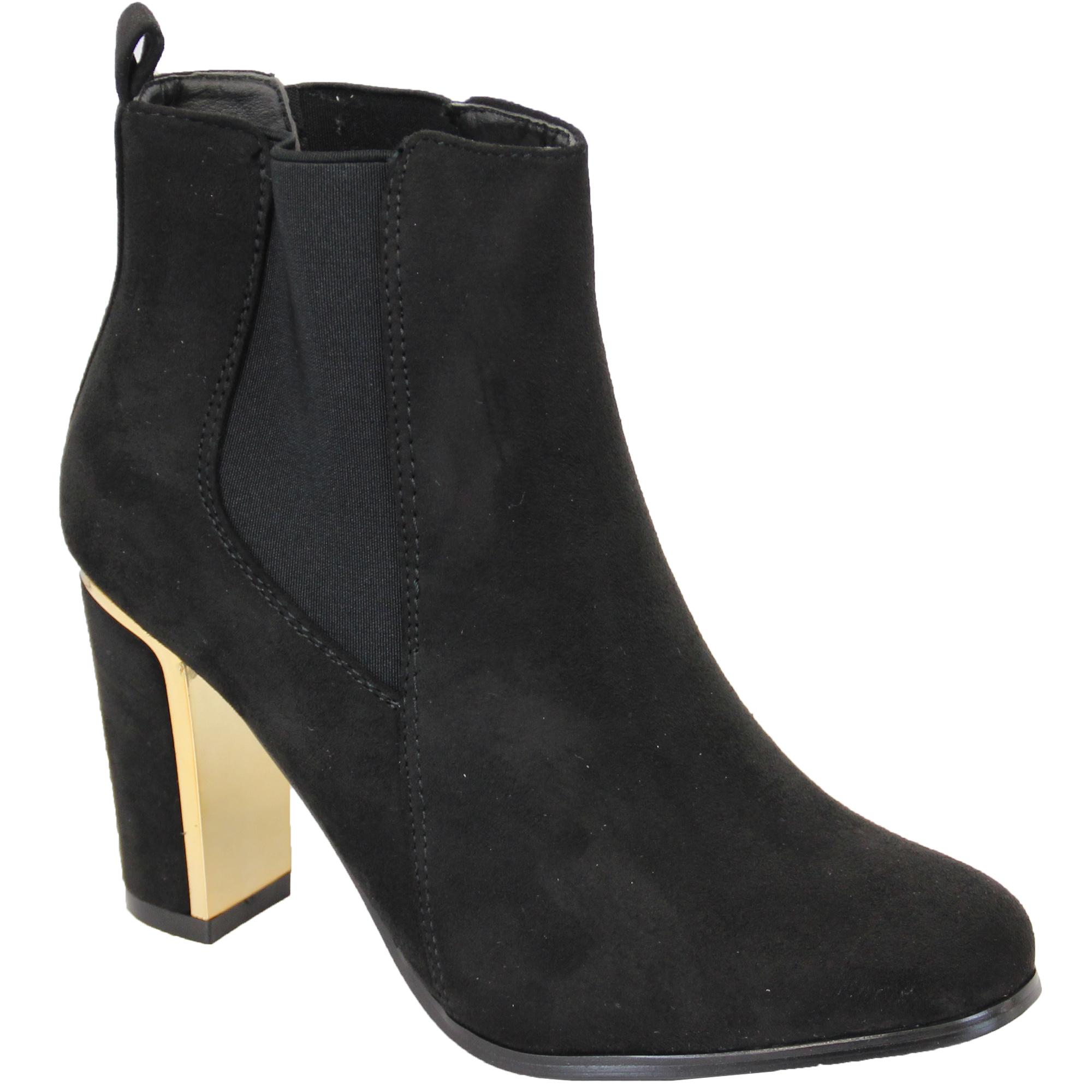 Damen Chelsea Stiefel Kelsi Schuhe Wildleder-Optik Blockabsatz Schlangen Effekt