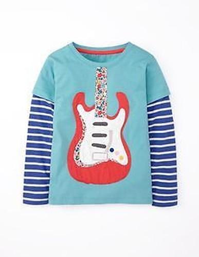 Mini-Boden-poud-filles-applique-haut-manches-longues-1-an-12-ans-chemise-coton