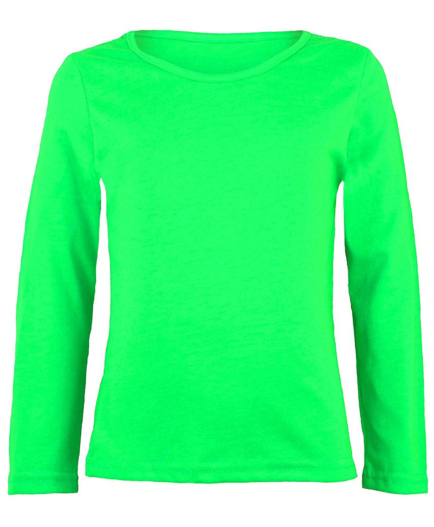 KIDS LONG SLEEVE PLAIN BASIC TOP GIRLS BOYS T-SHIRT TOPS CREW ...
