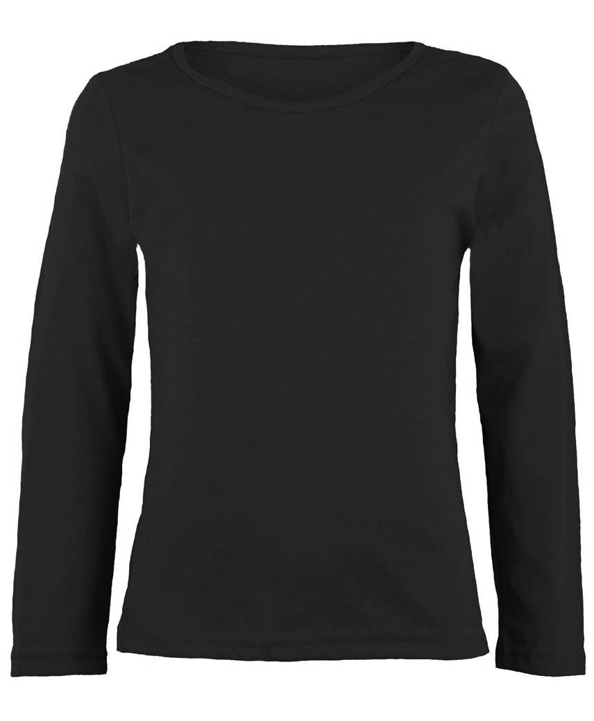 Kids Long Sleeve Plain Basic Top Girls Boys T Shirt Tops