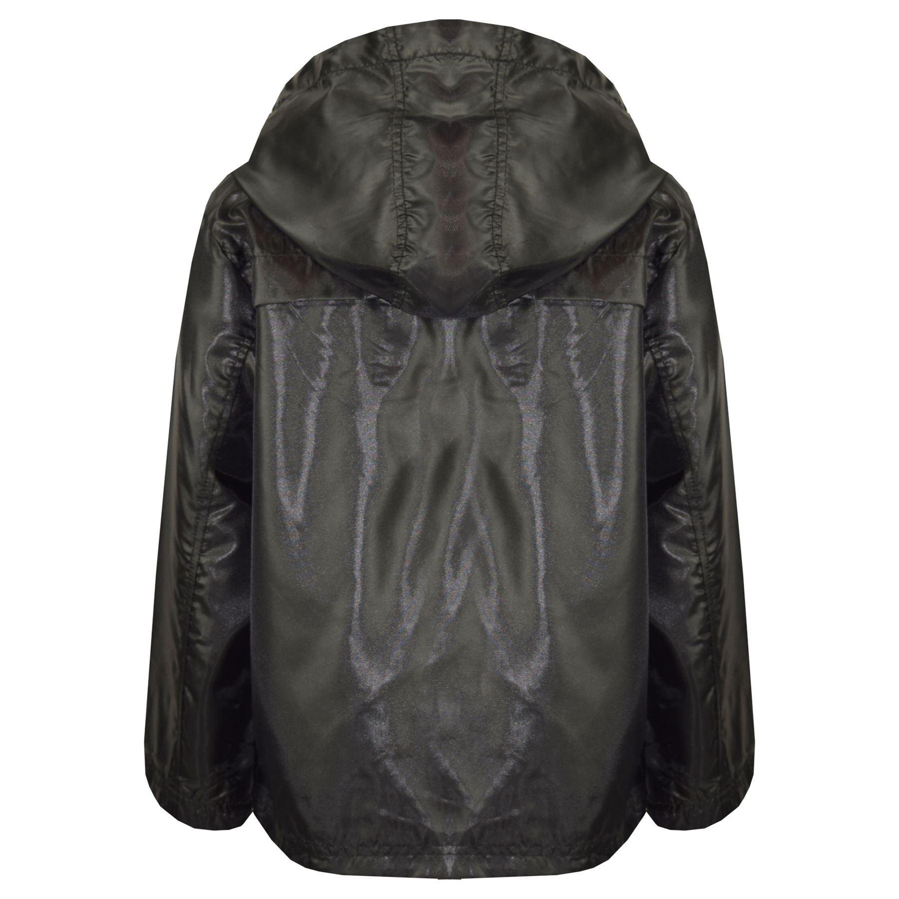 Kids Girls Boys Raincoats Jackets White Lightweight Hooded Cagoule Rain Mac 5-13