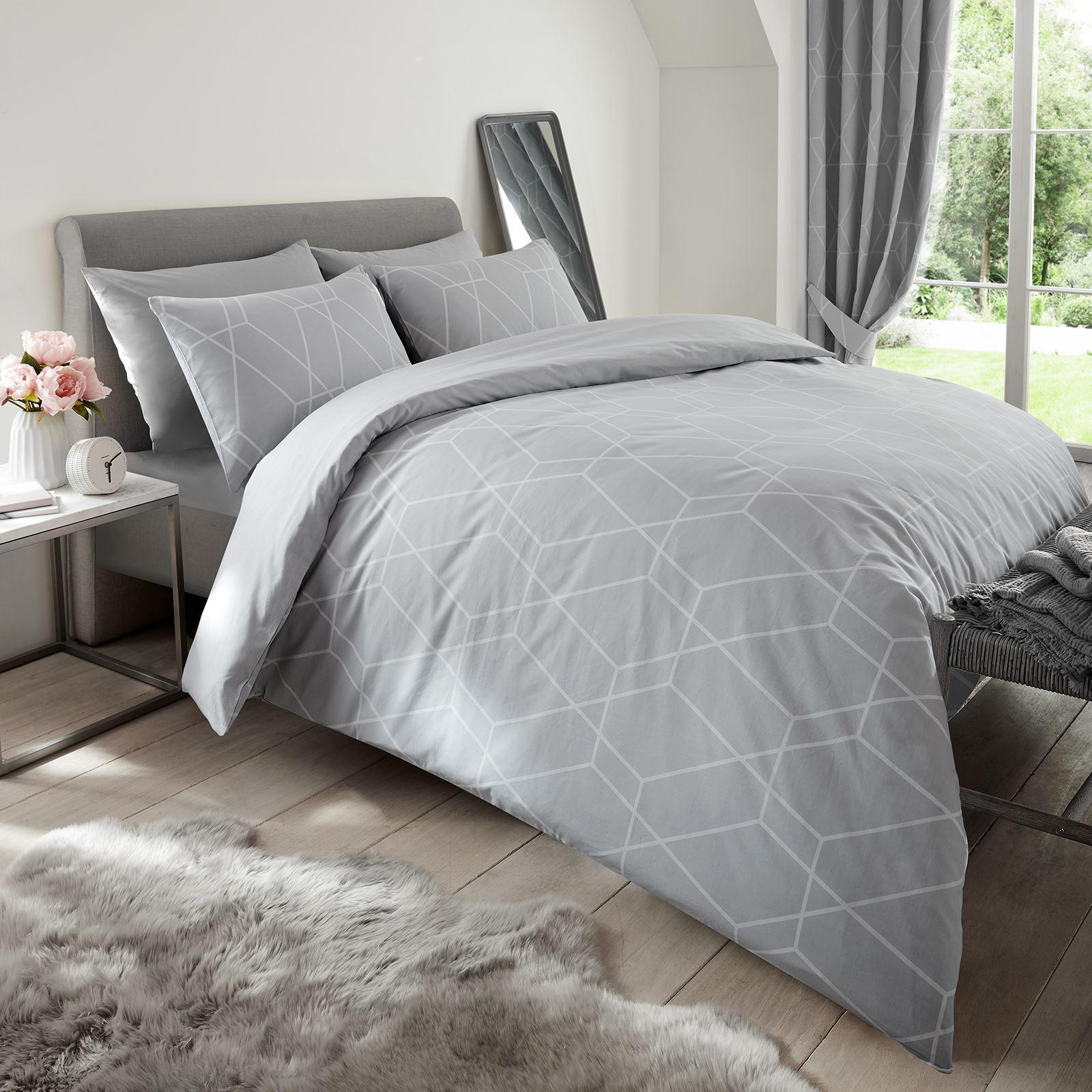 Geometrisch Bettwäsche Bettdecke Bezüge Grau Bunt Ebay